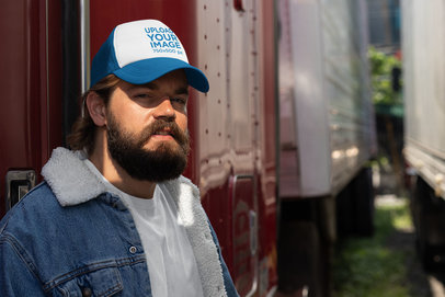 Trucker Hat Mockup Featuring a Smiling Bearded Man 29481