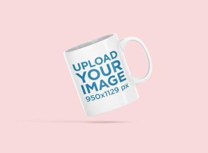Minimal Mockup Featuring an 11 oz Coffee Mug Floating Against a Colored Backdrop 695-el
