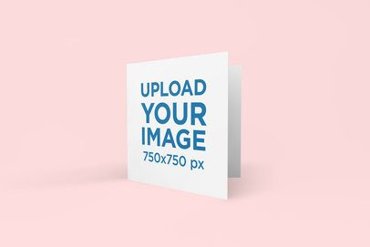 Greeting Card Mockup Featuring a Solid Color Backdrop 269-el