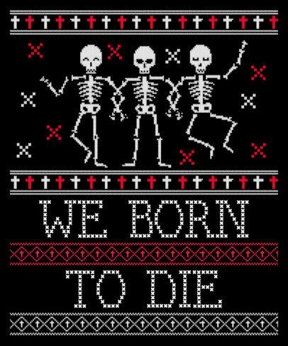 Ugly Sweater Template Featuring Halloween Graphics 1853