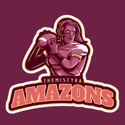 Football Logo Template of a Ferocious Woman 245ff-2601