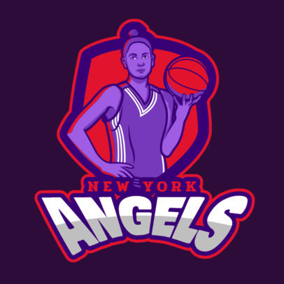 Basketball Logo Generator Featuring a Female Player Clipart 336g-2601