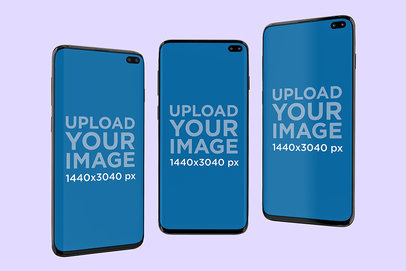 Mockup Featuring Three Samsung Galaxy S10 Floating Against a Plain Background 568-el
