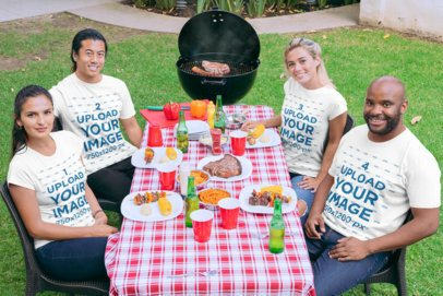 Mockup of a Group of Friends Wearing T-Shirts at a BBQ Party 29700
