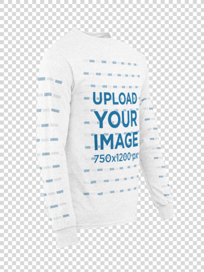 Side View Mockup of a Ghosted Long Sleeve Tee for Men 29396