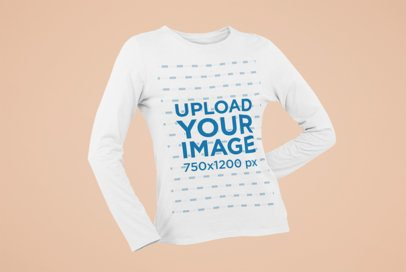 Ghosted Long Sleeve Tee Mockup for Women 29403