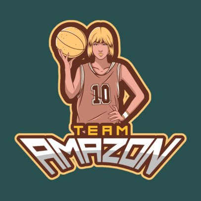 Sports Logo Template Featuring a Female Basketball Player 336j-2601