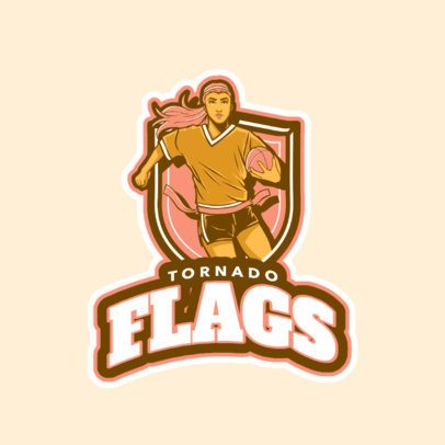 Online Logo Maker Featuring a Female Flag Football Player Running  245ii-2601