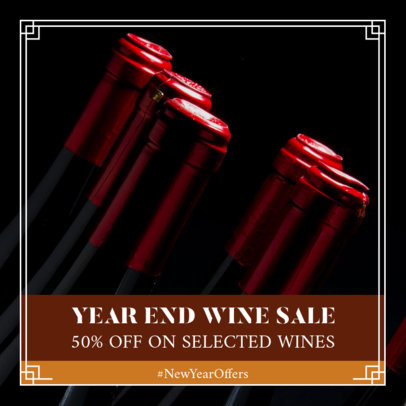 Instagram Post Template for a New Year's Special Wine Sale 1102i 1858