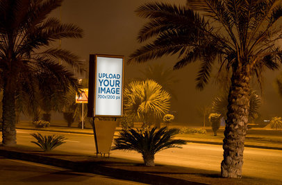 Mupi Mockup Featuring a  Road with Palms at Night 356-el
