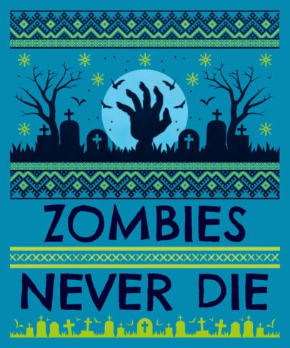 Ugly Halloween Sweater Design Template for Zombie Fans 1853a