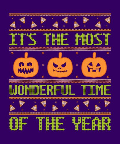 T-Shirt Design Maker for an Ugly Halloween Outfit with Spooky Pumpkin Clipart 1854f