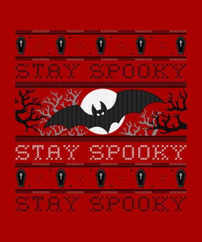 Spooky Halloween T-Shirt Design Maker for an Ugly Sweater 1854h