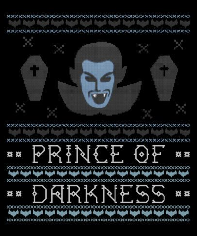 Ugly Sweater Design Template Featuring a Vampire Clipart 1853c