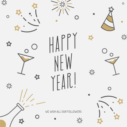 Simple Instagram Post Template Featuring Cool New Year Doodles 537f-1857