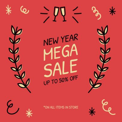 Instagram Post Maker for a New Year's Mega Sale Featuring Simple Doodles 537g-1857