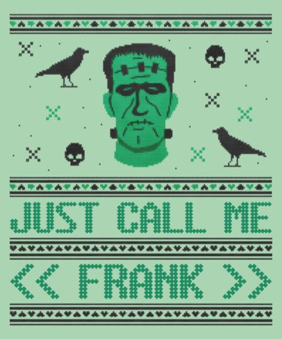 Halloween T-Shirt Design Maker for an Ugly Sweater with a Frankenstein Monster Graphic 1853g