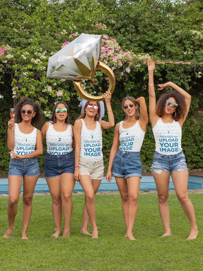Tank Top Mockup Featuring Five Women at a Bachelorette Pool Party 29669