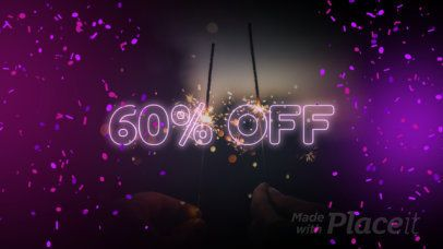 New Year's Sale Facebook Cover Video Maker with a Neon Style 1968