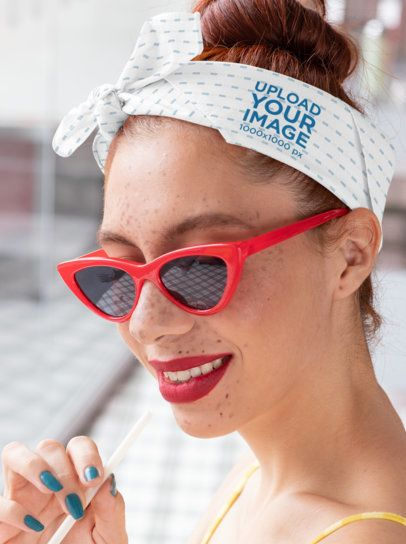 Pinup Bandana Mockup of a Woman with Red Sunglasses 29579