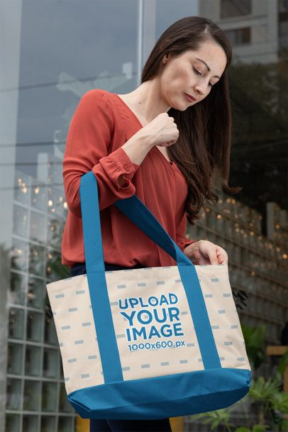 Weekend Bag Mockup of a Woman in the City 29790