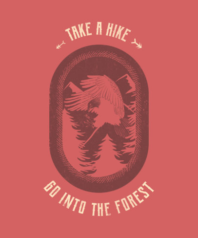 T-Shirt Design Template for a Hike in the Forest 1848h