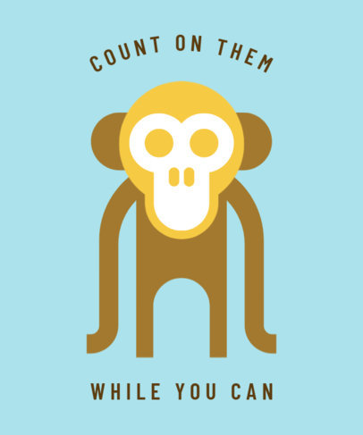 Environmental Awareness T-Shirt Design Template Featuring a Monkey Illustration 1562k 13-el