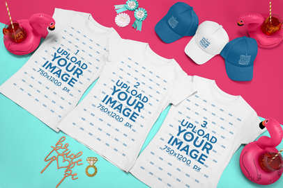 Mockup of Three T-Shirts and Trucker Hats for a Bachelorette Party 29603