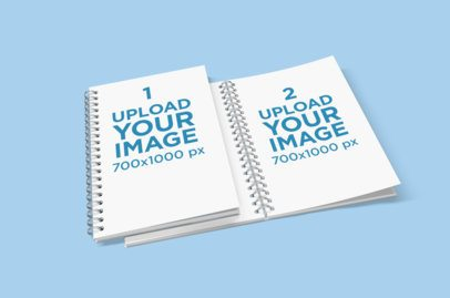 Mockup of Two Spiral Notebooks Placed on a Colored Surface 470-el