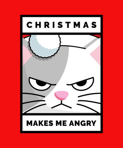 Christmas T-Shirt Design Template with Funny Characters 1880