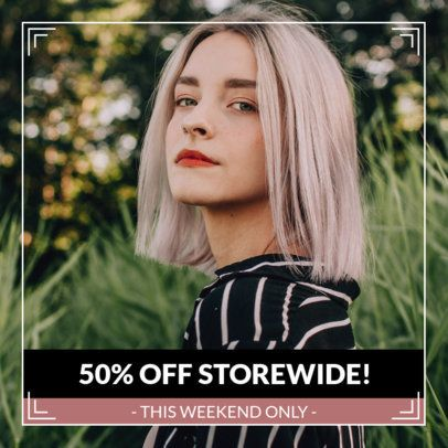 Minimalist Instagram Post Template for an Instore Discount Ad 1102j-1883