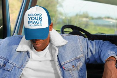 Trucker Hat Mockup of a Man in the Cabin of a Truck 29474