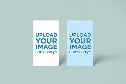 Mockup of Two Vertical Business Cards Standing Next to Each Other 748-el1