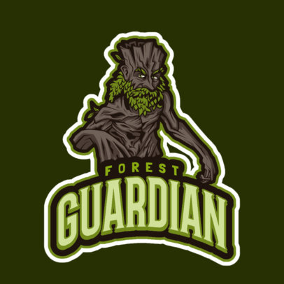 LoL-Themed Logo Template Featuring a Tree Warrior Character 2619b