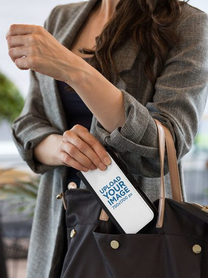 Mockup of a Woman Putting a Wallet Case for iPhone 7 Plus in Her Bag 29807