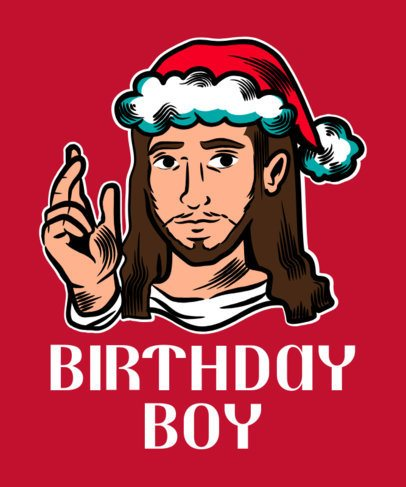 T-Shirt Design Template Featuring a Jesus with a Xmas Hat 1881b