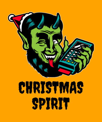 Funny Xmas T-Shirt Design Maker with a Krampus-Inspired Character 1881h