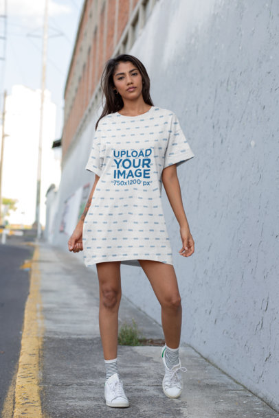 Shift Dress Mockup of a Woman on the Street 29729