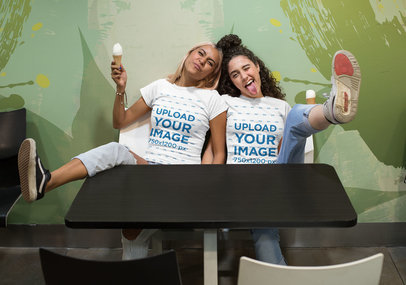 T-Shirt Mockup of Two Friends Being Silly at an Ice Cream Store 29620