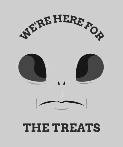 Halloween-Themed T-Shirt Design Template Featuring an Alien Face 1878h