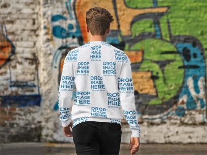 Back of a Man Wearing a Crewneck Sweater Mockup Walking to a Graffiti a9068h