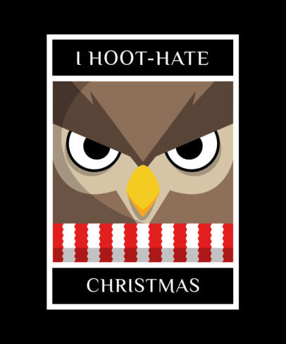 Christmas T-Shirt Template with a Mad Owl Cartoon 1880g