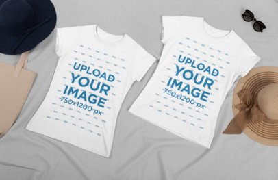Flat Lay Mockup of Two Best Friends Shirts Placed Over a Plain Surface 29634