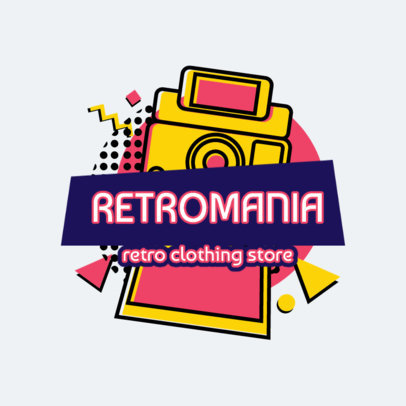 Retro Logo Maker with a Vintage Instant Camera Illustration 2615a