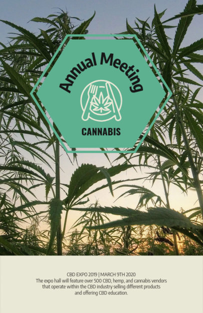 Flyer Template Promoting an Annual Cannabis Meeting 1893e