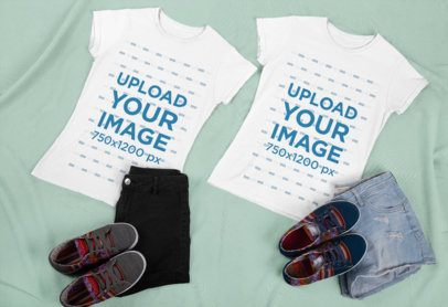 Best Friends T-Shirt Mockup Featuring Two Women's Outfits 29633