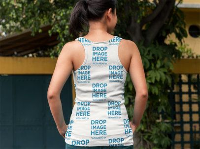Back of an Asian Girl Wearing a Tank Top Mockup Outside her Home a9433b