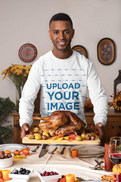 Long Sleeve Tee Mockup of a Man Having a Thanksgiving Dinner 29925