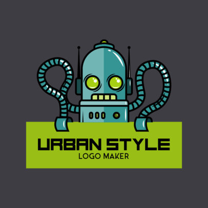 Logo Template for an Urban Style Apparel Brand Featuring a Robot Illustration 2606a
