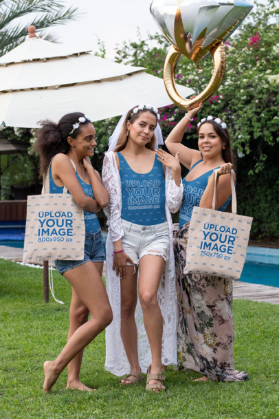 Mockup of Three Women in Swimsuits Carrying Tote Bags at a Bachelorette Party 29693